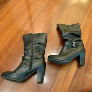 Shoes - Faux Leather Heeled Buckle Boots